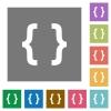 Programming code square flat icons - Programming code flat icons on simple color square background.