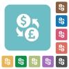 Dollar Pound exchange square flat icons - Dollar Pound exchange flat icons on simple color square background.