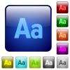 Adjust font size color square buttons - Adjust font size color glass rounded square button set