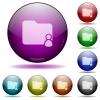 Folder owner glass sphere buttons - Folder owner color glass sphere buttons with shadows.
