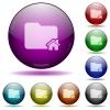 Home folder glass sphere buttons - Home folder color glass sphere buttons with shadows.