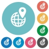 GPS location flat icons - GPS location white flat icons on color rounded square backgrounds
