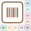 Barcode simple icons - Barcode simple icons in color rounded square frames on white background