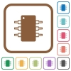 Integrated circuit simple icons - Integrated circuit simple icons in color rounded square frames on white background
