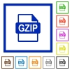 GZIP file format flat framed icons - GZIP file format flat color icons in square frames