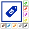 Bitcoin price label flat framed icons - Bitcoin price label flat color icons in square frames