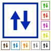 Data traffic flat framed icons - Data traffic flat color icons in square frames