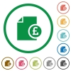 Pound report flat icons with outlines - Pound report flat color icons in round outlines