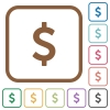 Dollar sign simple icons in color rounded square frames on white background - Dollar sign simple icons