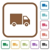 Delivery truck simple icons - Delivery truck simple icons in color rounded square frames on white background