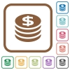 Dollar coins simple icons - Dollar coins simple icons in color rounded square frames on white background