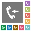 Incoming call square flat icons - Incoming call flat icons on simple color square background.