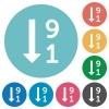 Descending numbered list flat icons - Descending numbered list white flat icons on color rounded square backgrounds