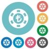 Turkish Lira casino chip flat icons - Turkish Lira casino chip white flat icons on color rounded square backgrounds