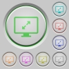 Screen resolution push buttons - Screen resolution color icons on sunk push buttons