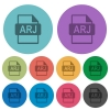 ARJ file format flat icons with outlines - ARJ file format flat color icons in round outlines