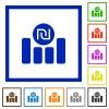 Israeli new Shekel graph flat framed icons - Israeli new Shekel graph flat color icons in square frames