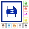 ICO file format flat framed icons - ICO file format flat color icons in square frames