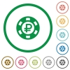 Ruble casino chip flat icons with outlines - Ruble casino chip flat color icons in round outlines