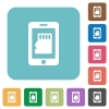Smartphone memory flat icons on simple color square background. - Smartphone memory square flat icons