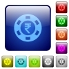 Indian Rupee casino chip color square buttons - Indian Rupee casino chip color glass rounded square button set