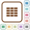 Spreadsheet simple icons - Spreadsheet simple icons in color rounded square frames on white background