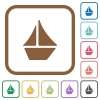Sailboat simple icons - Sailboat simple icons in color rounded square frames on white background