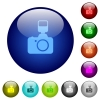 Camera with flash color glass buttons - Camera with flash icons on round color glass buttons