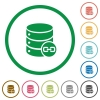 Joined database tables flat icons with outlines - Joined database tables flat color icons in round outlines