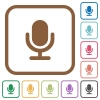 Microphone simple icons - Microphone simple icons in color rounded square frames on white background