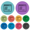 OS root terminal flat icons with outlines - OS root terminal flat color icons in round outlines