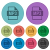 MP3 file format flat icons with outlines - MP3 file format flat color icons in round outlines