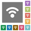 Radio signal square flat icons - Radio signal flat icons on simple color square background.