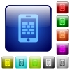 Smartphone firewall color square buttons - Smartphone firewall color glass rounded square button set