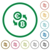 Euro Bitcoin exchange flat icons with outlines - Euro Bitcoin exchange flat color icons in round outlines