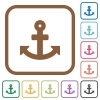 Anchor simple icons - Anchor simple icons in color rounded square frames on white background
