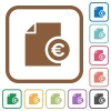 Euro report simple icons - Euro report simple icons in color rounded square frames on white background