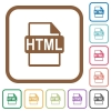 HTML file format simple icons - HTML file format simple icons in color rounded square frames on white background