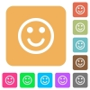 Smiling emoticon rounded square flat icons - Smiling emoticon icons on rounded square vivid color backgrounds.