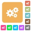 Gears rounded square flat icons - Gears icons on rounded square vivid color backgrounds.