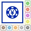 Yen casino chip flat framed icons - Yen casino chip flat color icons in square frames