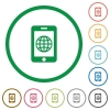 Mobile internet flat icons with outlines - Mobile internet flat color icons in round outlines