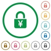 Locked Yens flat icons with outlines - Locked Yens flat color icons in round outlines
