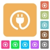 Power cord icons on rounded square vivid color backgrounds. - Power cord rounded square flat icons