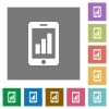 Smartphone signal strength square flat icons - Smartphone signal strength flat icons on simple color square background.