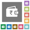 Indian Rupee wallet square flat icons - Indian Rupee wallet flat icons on simple color square background.