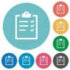 Task list flat icons - Task list white flat icons on color rounded square backgrounds