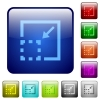 Minimize element color square buttons - Minimize element color glass rounded square button set