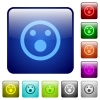 Shocked emoticon color square buttons - Shocked emoticon color glass rounded square button set
