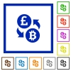 Pound Bitcoin flat framed icons - Pound Bitcoin flat color icons in square frames